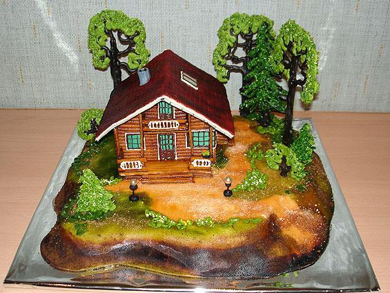 Торт в форме домика
