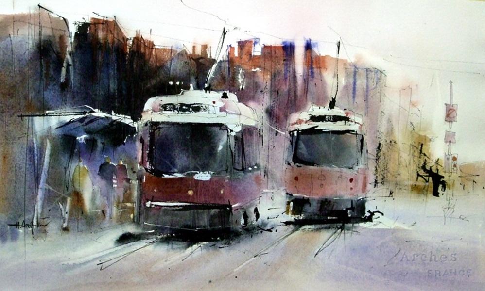Художник Herry Arifin - Акварельные трамвайчики