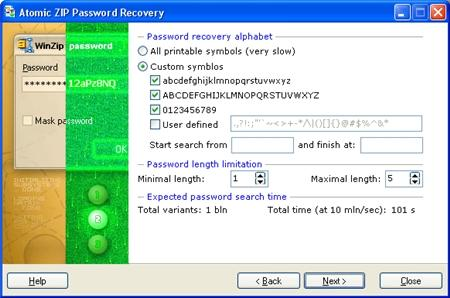Atomic ZIP Password Recovery v2.50
