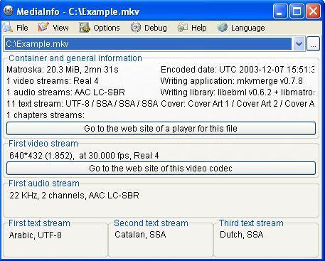 MediaInfo v0.7.7.8 - Информация о видео