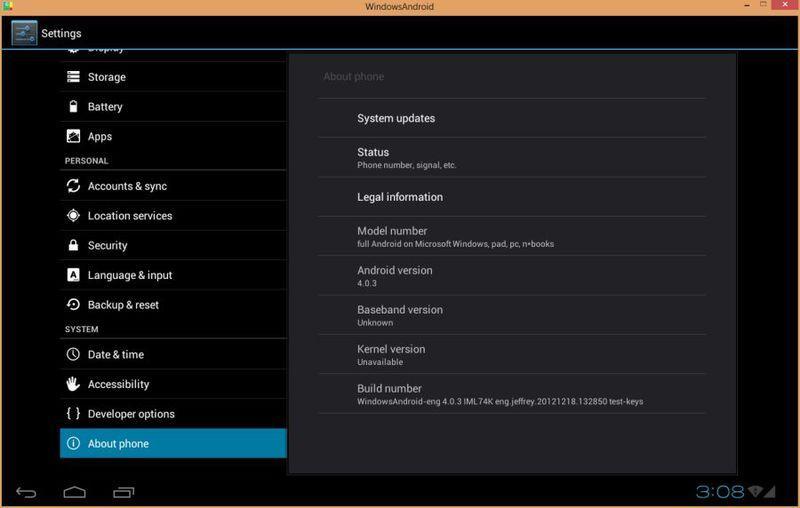 WindowsAndroid, позволяет запускать Android v.4.0.3 ICS как Windows-приложение